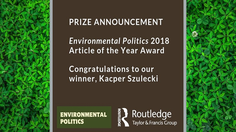 ESPRi's research director with best Environmental Politics article prize!